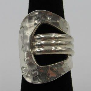 Vintage Size 6.5 Sterling Unique Hammered Ring